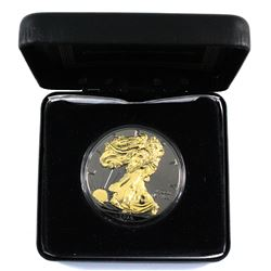 "2015 United States $1 1oz Silver eagle ""Blackout Collection"" 24K Gold on Relief and Black Ruthenium"