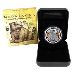2014 Australia $1 Megafauna - Diprotodon 1oz .999 Fine Silver Coloured Coin. (TAX Exempt)