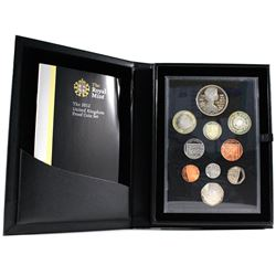 2012 United Kingdom 10-coin Proof Set. Comes only in the black folder, missing outer box (Some coins