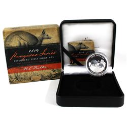 2014 Australia $1 Explorers' First Sightings - Kangaroo Series 1oz Fine Silver Proof Coin. (TAX Exem
