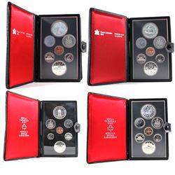 1977-1980 Canada Specimen Double Dollar Sets (Silver dollars are toned except for 1977). 4pcs