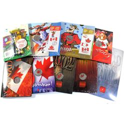 Group Lot 9x Royal Canadian Mint colorized Canada Day Commemorative 25-cent in original holder. Lot