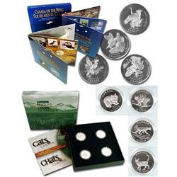 1995 Birds of Canada & 1999 Cats of Canada 50-cent 4-coin Sterling Silver Sets (Outer sleeves contai