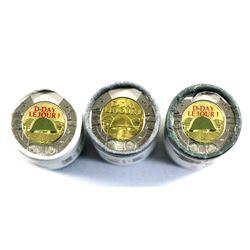 2019 Canada Special Wrap $2 D-Day Commemorative Rolls of 25pcs - Non-Coloured & 2x Coloured. 3pcs
