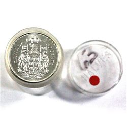 1963 Canada Silver 50-cent roll of $10 Face (20pc)  in plastic tube. Coins are all UNC to BU conditi