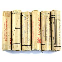 Lot of Error/Varieties Canada 1-cent Rolls - 1936 Dot Below 6, 1963 Re-engraved Chin/Neck, 1963 Rais