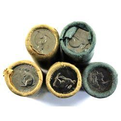 1967 Canada 5-cent Rolls of 40pcs. 5 rolls