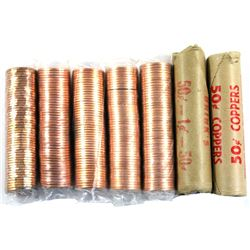 *1977, 1979, 1991, 1998, 2000, 2003 & 2008 Canada 1-cent Rolls of 50pcs (Some end coins are toned).