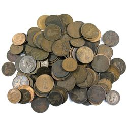 *Group Lot of Great Britain Mixed Date 1/2 Pennies and Pennies. 125pcs