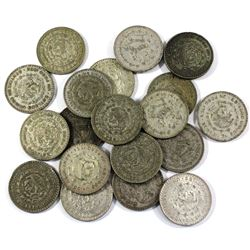 Lot of Mexico Silver 1 Peso Coins. 19pcs