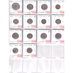 1906-1976 Switzerland Coinage in Plastic Page. 14pcs