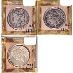 1884, 1891 & 1923 USA Silver Dollars. 3pcs
