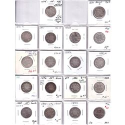 Estate lot of 18x Different Victorian 25-cent from 1858-1894! 18pcs