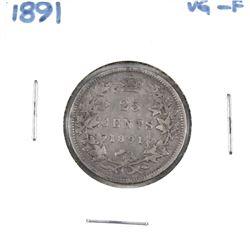1891 Canada 25-cent VG-F *Key Date* Nice natural gun metal grey tones.