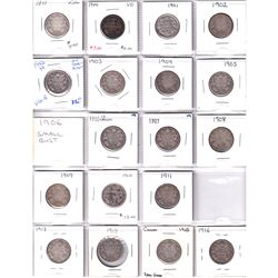 Estate lot of 34x Silver 25-cent from 1899-1936! Includes 1921, 1927 & 1936 Dot! Great Starter Lot!!