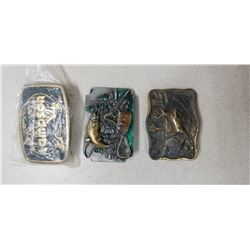 3 COLLECTABLE BELT BUCKLES