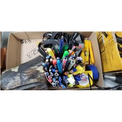 ASSORTED HEADLAMPS, BOX CUTTERS, TAPE MEASURES..