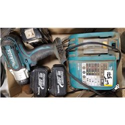 MAKITA DRILL C/W BATTERIES QTY 3 AND CHARGER