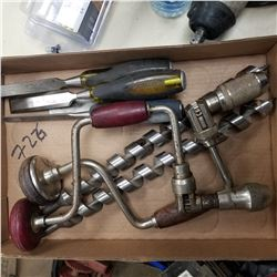HAND DRILL QTY 2 AND CHISSELS