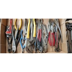 ASSORTED PLIERS, CUTTERS, WRENCHES
