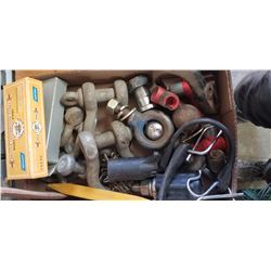 TWO SHARPENING STONES, QTY OF HITCH BALLS, AND CLEVACES