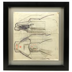 Lot #14 - ALIEN (1979) - Framed Hand-Drawn Ron Cobb Nostromo Cockpit Concept Sketch