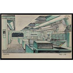 Lot #20 - ALIENS (1986) - Hand-Drawn Ron Cobb Medlab Concept Sketch