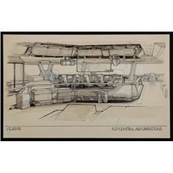 Lot #21 - ALIENS (1986) - Hand-Drawn Ron Cobb A.P Control and Operations Concept Sketch