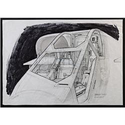 Lot #23 - ALIENS (1986) - Hand-Drawn Ron Cobb Drop Ship Cockpit Concept Sketch