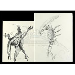 Lot #32 - ALIEN3 (1992) - Pair of Hand-Drawn Runner Concept Sketches by Tom Woodruff, Jr. and Alec G