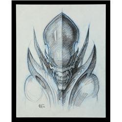 Lot #35 - ALIEN: RESURRECTION (1997) - Hand-Drawn Cloned Xenomorph Concept Illustration