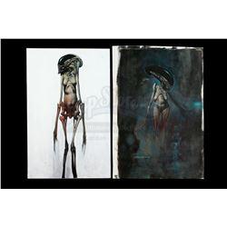 Lot #38 - ALIEN: RESURRECTION (1997) - Pair of Hand-Painted Chris Cunningham Newborn Alien Illustrat