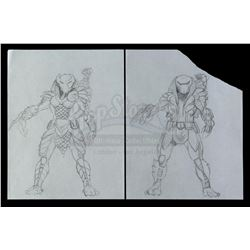 Lot #44 - AVP: ALIEN VS PREDATOR (2004) - Pair of Hand-Drawn Yautja Armor Concept Drawings