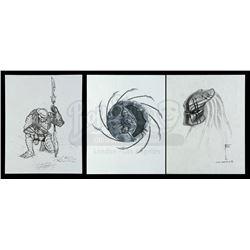 Lot #45 - AVP: ALIEN VS PREDATOR (2004) - Set of Three Hand-Illustrated Yautja Designs