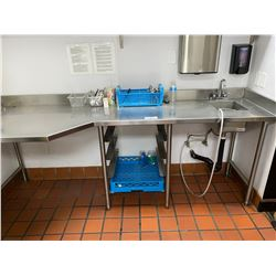 8FT STAINLESS STEEL TABLE WITH SINK