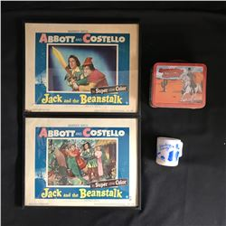 ABBOTT & COSTELLO/ HOPALONG CASSIDY COLLECTIBLES LOT (LOBBY CARDS, MINI LUNCH BOX...)