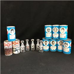 LOT OF RC COLA BASEBALL SODA CAN 12 OZ METAL VINTAGE PULL TABS (1977) & NHL MINI STANLEY CUPS
