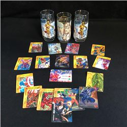 STAR WARS COLLECTIBLE GLASSWARE & MARVEL TRADING CARDS LOT
