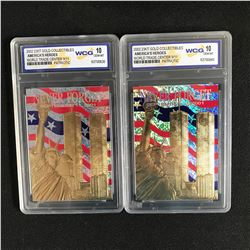 2002 23KT GOLD COLLECTIBLES AMERICA'S HEROES WORLD TRADE CENTER 9/11 CARD LOT (10 GEM MINT)
