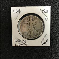 1920 USA WALKING LIBERTY HALF DOLLAR (DENVER MINTED)