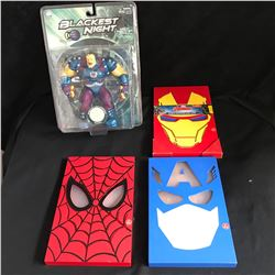 MARVEL LIGHT BOXES AND SUPERHERO TOY LOT