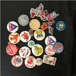 COLLECTIBLE SPORTS PINS/ PATCHES LOT