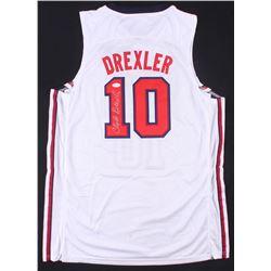 CLYDE DREXLER SIGNED TEAM USA BASKETBALL JERSEY (JSA COA)