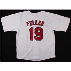 """BOB FELLER SIGNED JERSEY Inscribed """"HOF 1962"""" (BECKETT COA)"""
