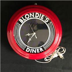 BLONDIES DINER RETRO WALL NEON CLOCK WORKING