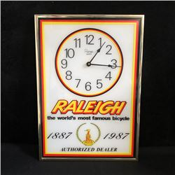 VINTAGE QUARTZ RALEIGH ADVERTISING CLOCK