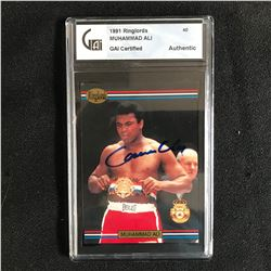 1991 RINGLORDS CASSIUS CLAY SIGNED CARD GAI COA