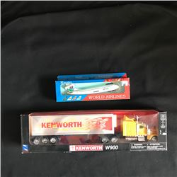 NewRay KENWORTH W900 & Wooster WORLD AIRLINES MODELS LOT
