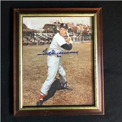 SIGNED TED WILLIAMS 8 X 10 WITH FRAME