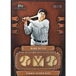 2010 Topps Sterling Babe Ruth Game Used Bat Card New York Yankees 05/10